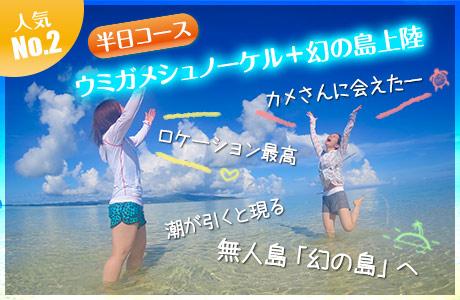ウミガメシュノーケリング+幻の島上陸
