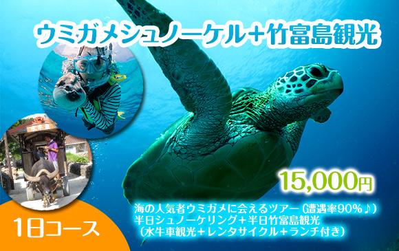 ウミガメシュノーケル+竹富島観光